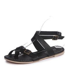 Femmes Suède Talon plat Sandales Chaussures plates avec Boucle chaussures