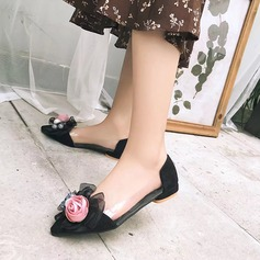 Women's PU Chunky Heel Flats With Flower shoes