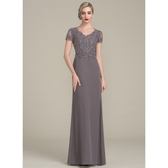 A-Line/Princess V-neck Floor-Length Chiffon Evening Dress With Beading Sequins (017113535)
