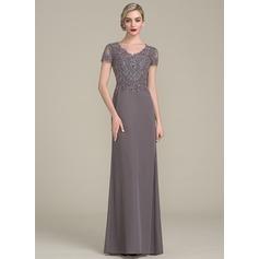 Corte A/Princesa Escote en V Hasta el suelo Gasa Vestido de noche con Cuentas Lentejuelas (017113535)