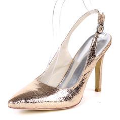 Mulheres Couro Salto agulha Bombas Sapatos abertos com Fivela
