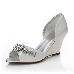 Vrouwen Satijn Wedge Heel Peep Toe Sandalen Verfbare Schoenen met Strass