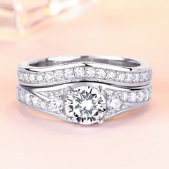 Sterling Silver Cubic Zirconia Dainty Round Cut Engagement Rings Bridal Sets (289224744)