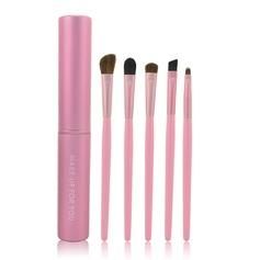5 Pcs Makeup Brush Set With Pink Cylinder