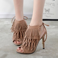 Women's Suede Stiletto Heel Sandals Pumps Peep Toe Slingbacks With Lace-up Tassel shoes