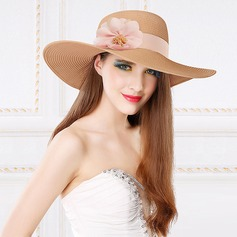 Señoras' Encanto Papiro con Flores de seda Disquete Sombrero/Sombrero de paja