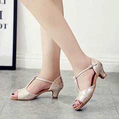 De mujer Cuero Sandalias Danza latina con Rhinestone Zapatos de danza