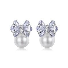 Señoras' Bowknot cobre/Circón/La perla de faux Pendientes
