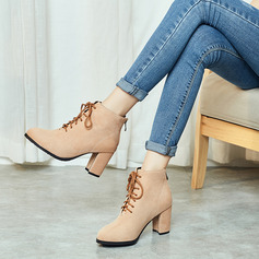 Suède Talon bottier Chaussures plates Compensée Chaussons avec Dentelle chaussures