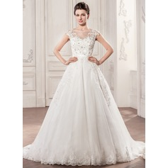 Ball-Gown Scoop Neck Chapel Train Tulle Wedding Dress With Beading Appliques Lace Sequins Bow(s) (002058762)