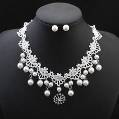 Hermoso La perla de faux Encaje con Perlas de imitación Encaje Señoras' Sistemas de la joyería
