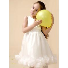 Vestidos princesa/ Formato A Coquetel Vestidos de Menina das Flores - Cetim Sem magas Decote redondo com fecho de correr