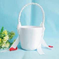 Pretty Flower Basket in Satin With Bow
