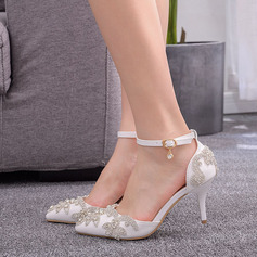 Kinderen Kunstleer Stiletto Heel Closed Toe Pumps Sandalen Mary Jane met Strass Lovertje