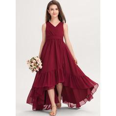 Corte A Decote V Assimétrico Tecido de seda Vestido de daminha júnior com Curvado Babados em cascata