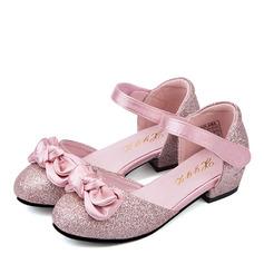 Muchacha Punta Cerrada Cuero de Microfibra El talón bajo Planos Zapatos de niña de las flores con Bowknot Velcro