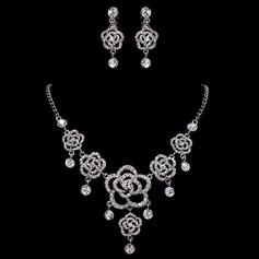 Romantische Blumen Legierung/Strasssteine Damen Schmuck Sets