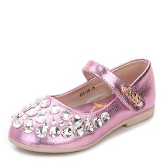 Girl's Round Toe Closed Toe Real Leather Flat Heel Flower Girl Shoes With Velcro Crystal