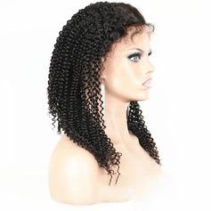 4A non remy Frisé Cheveux humains Perruques avant en dentelle 150g