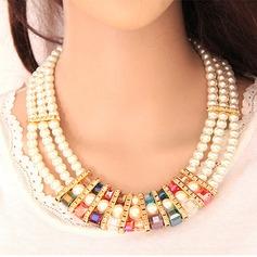 Luminoso Liga Strass com Pérola Imitação Senhoras Conjuntos de jóias