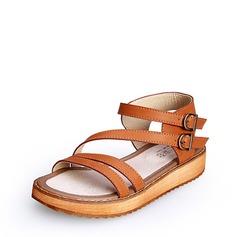 Frauen Kunstleder Flascher Absatz Sandalen Peep Toe mit Schnalle Schuhe
