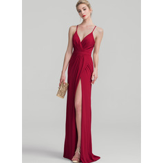 Sheath/Column V-neck Floor-Length Jersey Evening Dress With Ruffle (017116352)