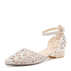 Women's Leatherette Low Heel Closed Toe With Crystal