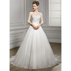 A-Line/Princess Scoop Neck Court Train Tulle Wedding Dress With Beading Appliques Lace Sequins Bow(s) (002056956)