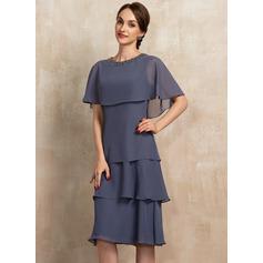A-Linie U-Ausschnitt Knielang Chiffon Kleid für die Brautmutter mit Perlstickerei Pailletten Gestufte Rüschen (008217318)