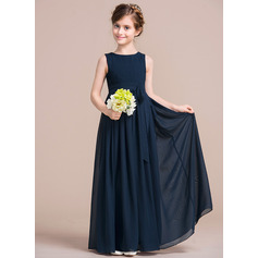 Empire Floor-length Flower Girl Dress - Chiffon Sleeveless Scoop Neck With Bow(s)