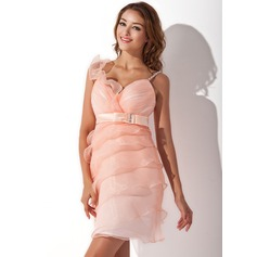 Sheath/Column Sweetheart Short/Mini Organza Homecoming Dress With Ruffle Beading Bow(s)