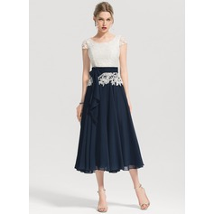 A-Line/Princess Square Neckline Tea-Length Chiffon Cocktail Dress With Bow(s)