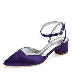 Mulheres como o cetim de seda Salto robusto Fechados Sandálias com Strass