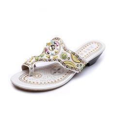Kunstleder Niederiger Absatz Sandalen Flip Flops mit Perlen verziert Schuhe