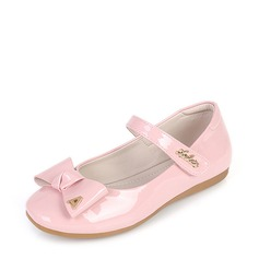 Girl's Leatherette Flat Heel Round Toe Closed Toe Mary Jane Flats With Bowknot Velcro