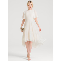 A-Line Scoop Neck Asymmetrical Chiffon Homecoming Dress With Pleated