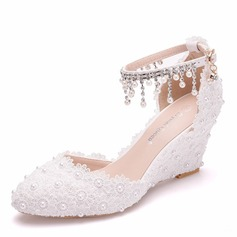 Vrouwen Kunstleer Wedge Heel Closed Toe Wedges met Tassel