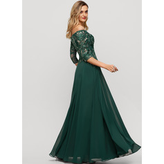 A-Line Off-the-Shoulder Floor-Length Chiffon Evening Dress With Sequins (017209146)