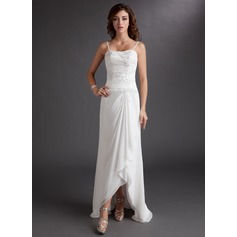 A-Line/Princess Sweetheart Asymmetrical Chiffon Wedding Dress With Beading Appliques Lace Sequins Cascading Ruffles