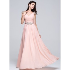 A-Line/Princess V-neck Floor-Length Chiffon Prom Dress With Ruffle Beading Sequins (018022748)
