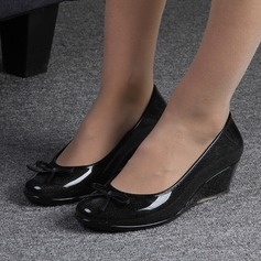 Kvinner PVC Kile Hæl Lukket Tå Kiler Gummistøvler med Bowknot sko