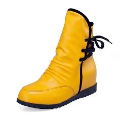 Kunstleder Keil Absatz Stiefel-Wadenlang Schuhe