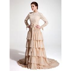 Forme Princesse Col montant Traîne moyenne Mousseline Dentelle Robe de soirée avec À ruban(s) Robe à volants