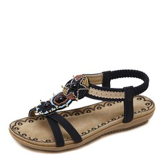 Женщины кожа Плоский каблук Сандалии Открытый мыс Босоножки с развальцовка Имитация Перл Эластичная лента обувь