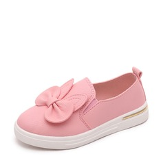 Girl's Closed Toe Loafers & Slip-Ons Leatherette Flat Heel Flats With Bowknot