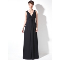 A-Line/Princess V-neck Floor-Length Chiffon Mother of the Bride Dress With Ruffle