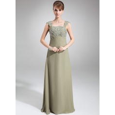 Empire Square Neckline Floor-Length Chiffon Mother of the Bride Dress With Beading Sequins