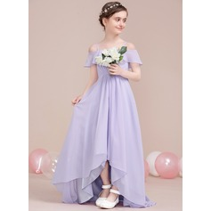 A-Line Off-the-Shoulder Asymmetrical Chiffon Junior Bridesmaid Dress With Cascading Ruffles