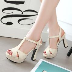 Naisten PU Chunky heel Sandaalit Avokkaat Platform Peep toe Kantiohihnakengät jossa Solki kengät