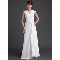 A-Line/Princess V-neck Floor-Length Chiffon Mother of the Bride Dress With Ruffle Cascading Ruffles